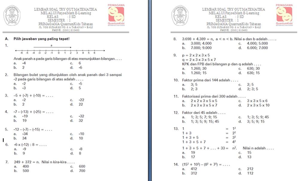 Latihan Soal Ulangan Umum Matematika Semester 1 Untuk Kelas 5 Sd Anti Remidi Les Privat